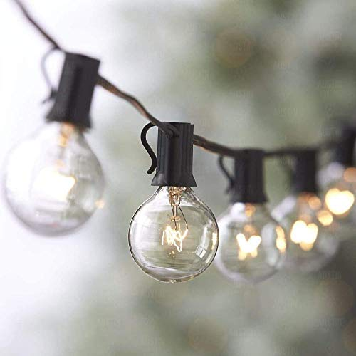 A-Generic String lamp, G40 outdoor strings, 25 incandescent lamps, very suitable for Christmas party (2 replacement light bulbs) [Energy grade A +]