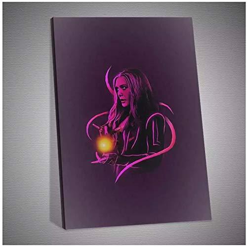 Lefgnmyi Scarlet Witch Hero Poster Canvas Art Posters and Prints Cocina Tema Pinturas en lienzo en la pared Imágenes artísticas Decoración -20x28 IN Sin marco