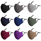9 Pack 3D Cloth Face Mask Reusable with Nose Wire, Adult Black Breathable Mask Anti-Fog Design, Cotton Adjustable Washable Masks for Men and Women