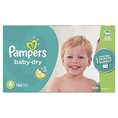 Diapers Size 6, 144 Count - Pampers Baby Dry Disposable Baby Diapers, ONE MONTH SUPPLY (Packaging May Vary)