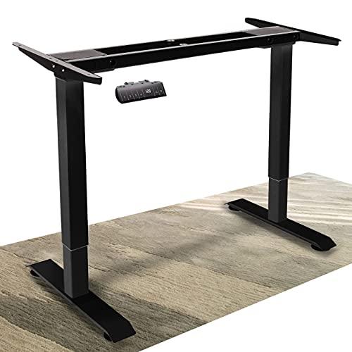 DCHOUSE Scrivania elettrica regolabile in altezza senza livelli preimpostati, scrivania per computer, ergonomico, con 2 piani, con funzione memory, colore: nero