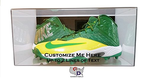 GameDay Display Custom Create Your Own Text Acrylic Wall Mount Shoe Pair Display Case Size 17 and Under
