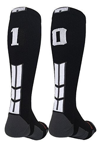 MadSportsStuff Player Id Black/White Over The Calf Number Socks (#10, Medium)