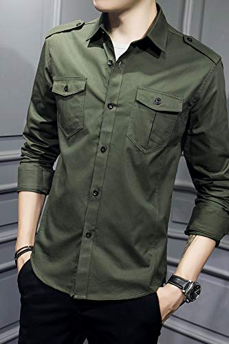XTAPAN Men's Long Sleeve Casual Slim Fit Button Down Dress Shirt with Two Pockets Army Green 3XL 6620