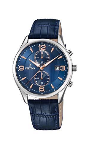 Festina Herren Chronograph Quarz Uhr mit Leder Armband F6855/6