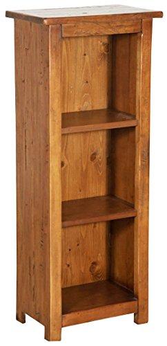 Petite bibliothèque en bois massif de tilleul finition noyer L40xPR25xH98 cm