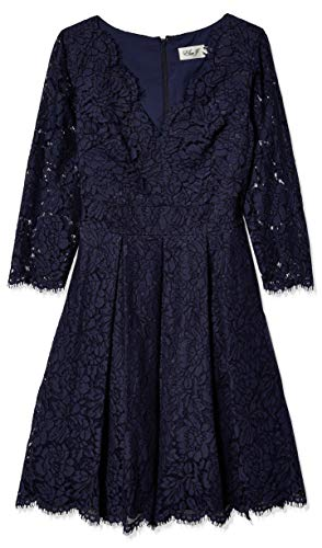 Eliza J Women's Lace Fit and Flare Dress, Navy, 6