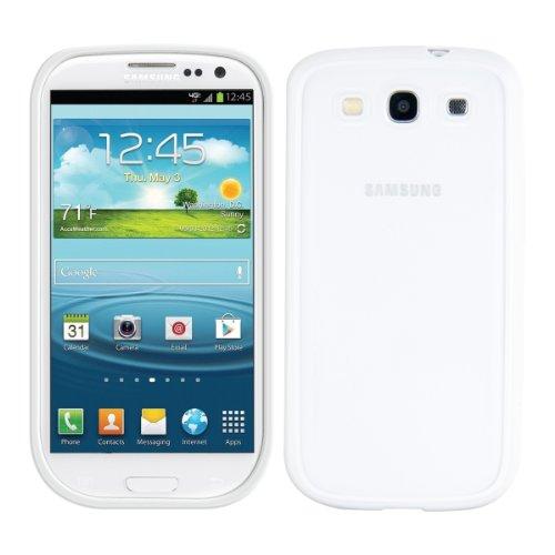 kwmobile Custodia Compatibile con Samsung Galaxy S3 / S3 Neo - Cover Protettiva Trasparente in plastica con Bumper in TPU Bianco - Back Cover