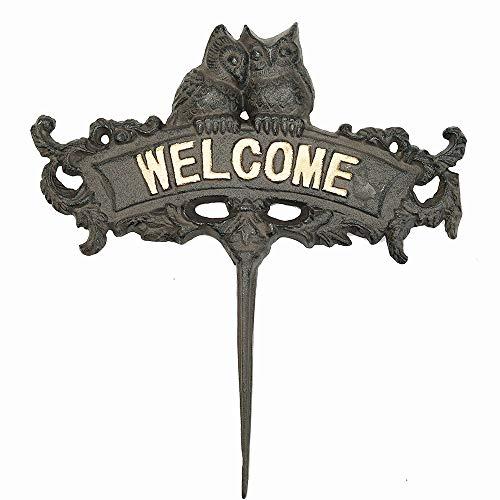 Sungmor Heavy Duty Panneau de Bienvenue en Fonte Hibou - 24.7 × 22cm - Style Vintage Décoratif Animal Jardin Inscrivez-Vous sur des bâtons - Excellent Jardin Home Decor