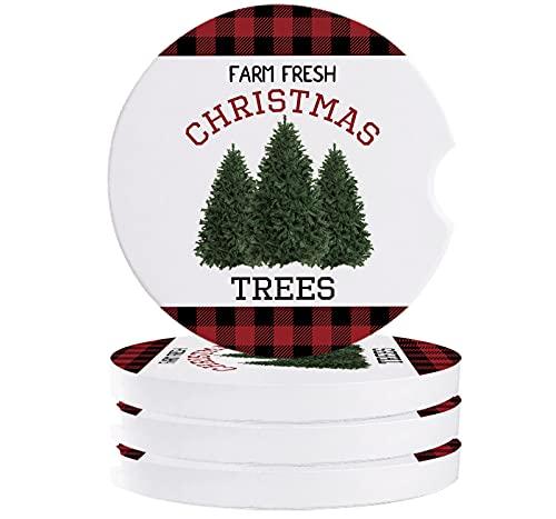 Juego de 4 posavasos de Buffalo a cuadros, accesorios perfectos para coche con diseño de muesca de dedo absorbente para auto taza, apto para camión, SUV, furgoneta, granja fresca Navidad Tress