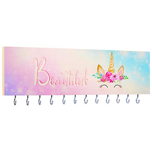 Basumee Jewelry Organizer Wall Mounted for Girls Necklace Holder Wooden with 12 Metal Hooks, Starry Lavender Smile Unicorn