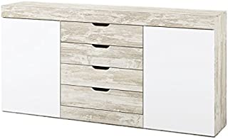 Muebles Azor Mobelcenter - Aparador Logan - Blanco y Vintage - 180 x 398 x 90 cm (0771)
