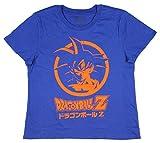 Dragon Ball Z Womens Goku Character with Script T-Shirt (SM) Blue