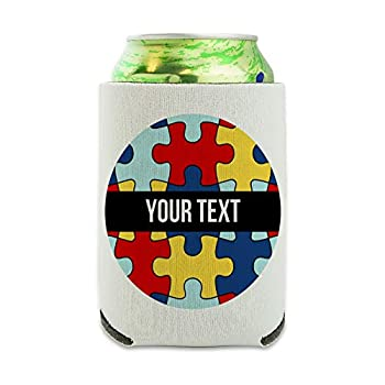 Personalized Custom Autism Awareness 1 Line Can Cooler - Drink Sleeve Hugger Collapsible Insulator - Beverage Insulated Holder