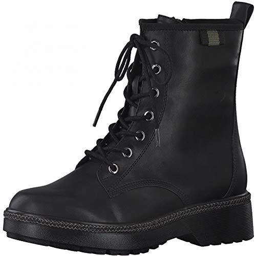 Tamaris Damen Stiefel, Frauen Schnürstiefel, weiblich Women's Freizeit Boots Combat schnürung Lady Ladies Women Woman,Black MATT,38 EU / 5 UK