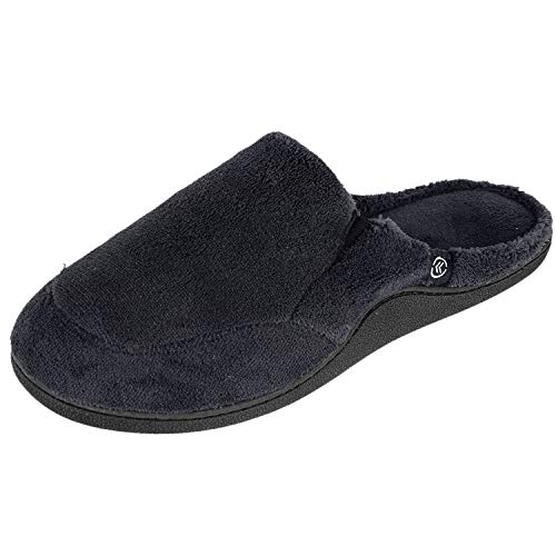 isotoner Mens Microterry Clog Slippers (Large / 9.5-10.5 D(M) US, Ebony Black)