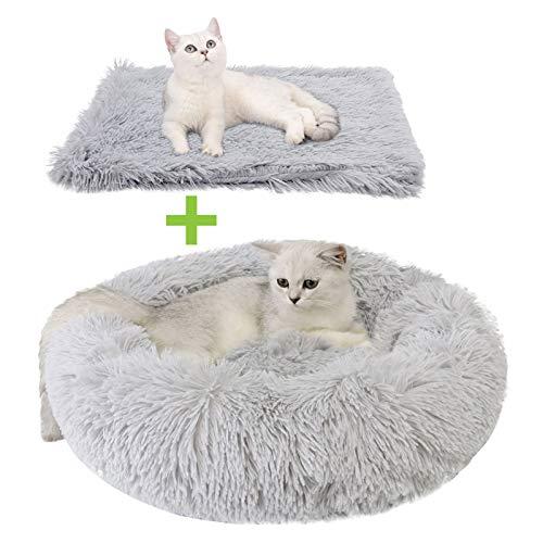 Dorakitten - Cama para gatos de interior con manta, cama de gato, cama redonda para gatos, cama de gato y gato, cama de piel sintética...