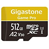 Gigastone Carte Mémoire Micro SD XC 512 Go + Adaptateur SD. Vitesse de Lecture allant jusqu'à 100 Mo/s et écriture de 80 Mo/s, Classe 10, U3 A2 V30. Performances applicatives A2.