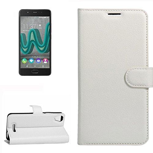 YUCPING Handyhülle Litchi Texture Horizontal Riff Ledertasche Mit Halter und Card Slots und Geldbörse for Wiko U Feel Go (Color : White)
