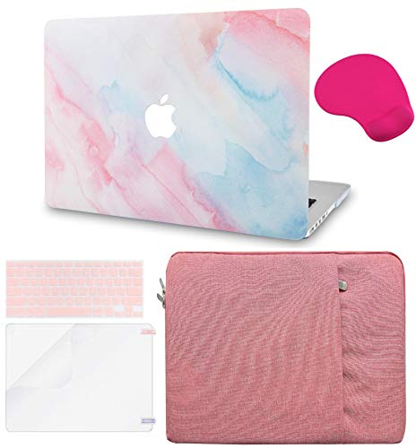 LuvCase 5in1 Laptop Case for Old MacBook Pro 13' Retina Display (2015/2014/2013/2012) A1502/A1425 Hard Shell Cover, Sleeve, Mouse Pad, Keyboard Cover and Screen Protector (Pale Pink Mist)