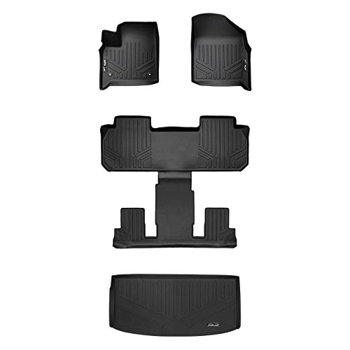 MAXLINER Floor Mats 3 Rows and Cargo Liner Behind 3rd Row Set Black for 2018-2019 Chevrolet Traverse with 2nd Row Bucket Seats