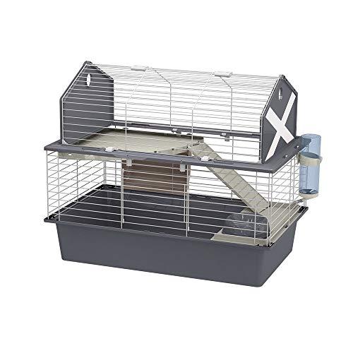 Cage BARN 80 pour Lapins et Petits Animaux, 2 étages, Toit Ouvrant, Accessoires et Adhésifs Inclus