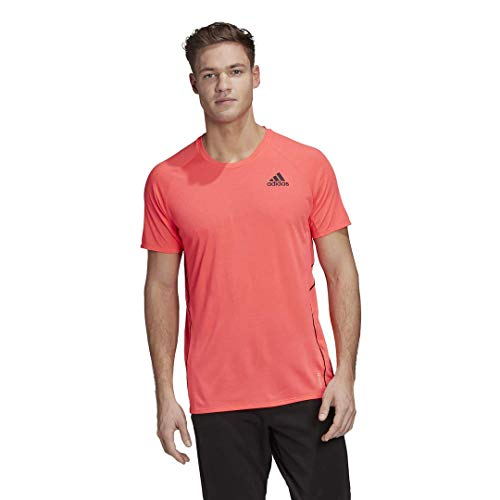 adidas mens Adi Runner Tee Signal Pink Large
