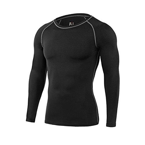 sillictor コンプレッション トップス メンズ 長袖 パワーストレッチ アンダー シャツ コンプレッション ウェア [UVカット + 吸汗速乾] ブラック