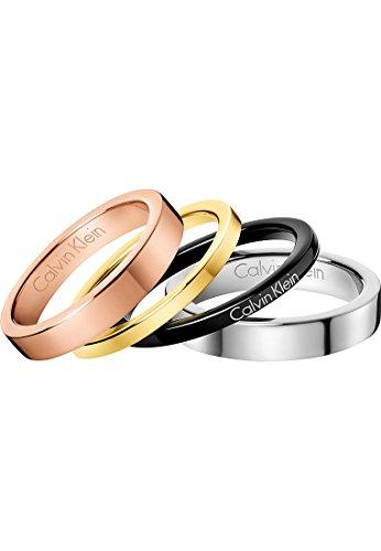 Calvin Klein Damen-Damenring Edelstahl 60 Silber, Schwarz, Rosé, Gold, Bunt 32005813