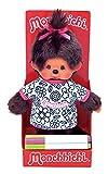 Sekiguchi 223329 - Original Monchhichi Mädchen mit T Shirt zum Ausmalen, inklusive Stifte, aus braunem Plüsch, Zopf mit Schleife, ca. 20 cm