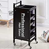 Retro Hairdressing Trolley Sturdy Frame Hairdresser Coloring Cabinet Barber Beauty Storage Tray Hair Salon Spa Rolling Cart with ABS Pull Out Drawers Hair Dryer Holder