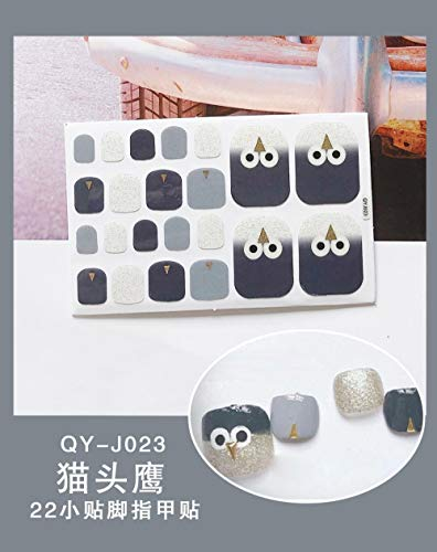 BGPOM Foot Stickers Nail Stickers Nail Stickers Fully Waterproof Lasting 3D Toenail Stickers Patch 10 Sheets/Set,Owl (QY-J023)