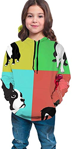 dgfgad Kapuzenpulli Hooded Youth Sweatshirt Boys' Youth Teen 3D Printed Cute Boston Terrier with Balloon Pullover Hoodies Hooded Sweatshirts Tops Blouse with Pocket