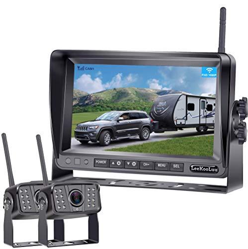 LeeKooLuu FHD 1080P Digital Wireless 2 Backup Cameras for RVs/Travel Trailers/Pickups/Trucks/Motorhomes 7'' Monitor IPS Split Screen Highway Observation System IP69K Waterproof Super Night Vision LK6