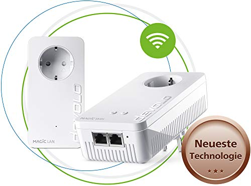 devolo Magic 1 – 1200 WiFi ac Starter Kit: 2 Powerline-Adapter, WLAN-Funktion, ideal für Home Office (1200 Mbit/s, 2x Fast-Ethernet LAN-Anschlüsse, Mesh, G.hn)