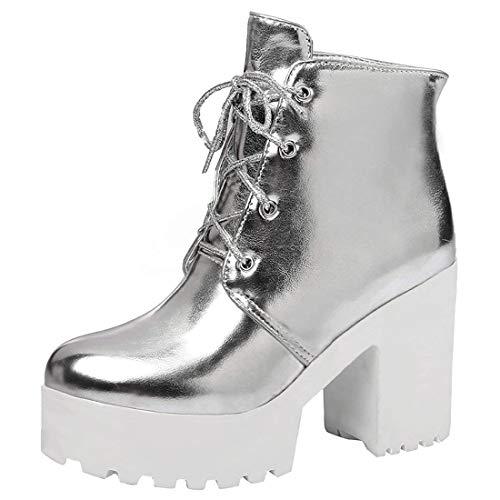 MISSUIT Damen Schnürstiefeletten Blockabsatz Stiefeletten mit Schnürung und 9cm Absatz Plateau Ankle Boots Winter Schuhe(Silber,37)
