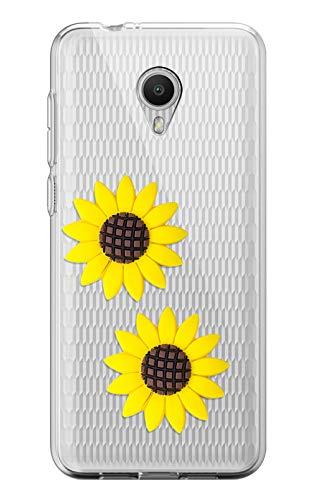 Sunrive Funda para Wiko Robby, Silicona Slim Fit Gel Transparente Carcasa 3D Case Bumper de Impactos y Anti-Arañazos Espalda Cover(Girasol Amarillo)