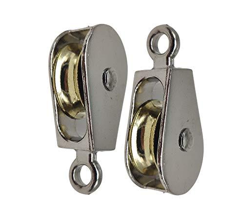 DOJA Industrial |(Pack de 2) unidades de Poleas Individuales de acero niquelado | Diámetro: 25mm | Polea tamaño estándar | Gancho fijo | Capacidad de carga de 150 kg
