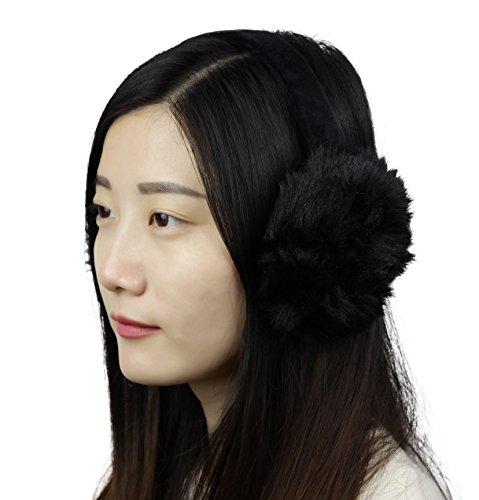 Sudawave Klassischer Damen Kinder Mädchen Faltbar Winter Ohrenschützer Ohrenwärmer Unisex für Damen Herren Kinder (Schwarz)