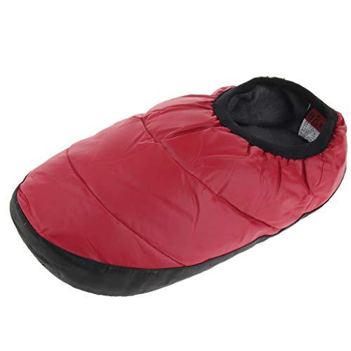 SM SunniMix スリッパ ダウンスリッパ あたたかい ウォームソックス 冬 暖かい 非スリップ 全3色 - 赤, サイズ35-39