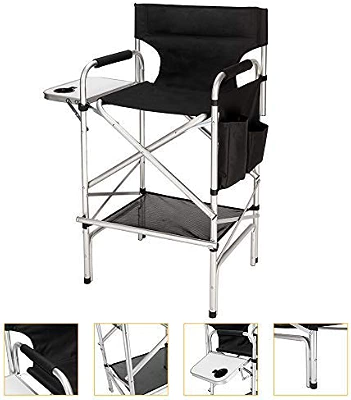 Mefeir Upgraded Director Makeup Artist Chair Bar Height Aluminum Frame Supports 300 Lbs Folding Portable With Side Table Storage Bag Black 33 8 L X 19 2 W X 45 6 H