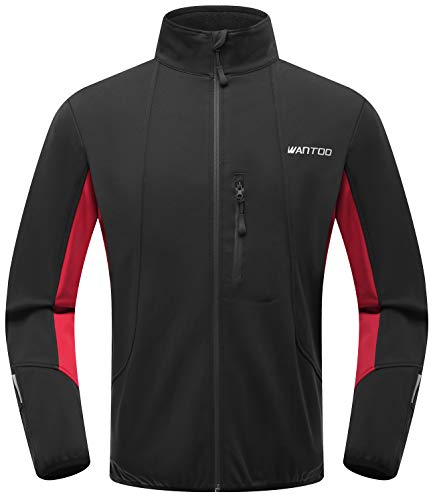 Wantdo Men's Windproof Running Cycling Jacket Water-Resistant Breathable Coat Red XL