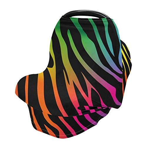 Nursing Cover Breastfeeding Scarf Rainbow Zebra Print - Baby Car Seat Covers, Infant Stroller Cover, Carseat Canopy for Girls and Boys (be12a)