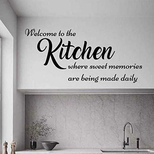 Calcomanías de pared para cocina, letrero de bienvenida a la cocina, pegatinas de pared con citas familiares para decoración del hogar, decoración del hogar, 182 x 84 cm