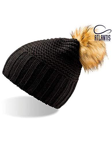 Atlantis Mont Blanc Nero-Beige Pom Pom Casque Long Bonnet Long Gym Unisexe Chapeau