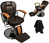 Classic Reclining Hydraulic Barber Chair with Natural Oak Wood Armrests & Wood Grain Accent
