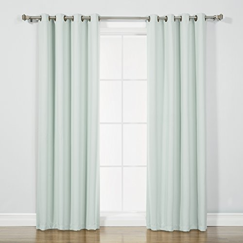"Best Home Fashion Blackout Curtain Panels - Premium Thermal Insulated Window Treatment Blackout Drapes for Bedroom - Antique Bronze Grommet Top – Mint - 52"" W x 96"" L - (Set of 2 Panels)"