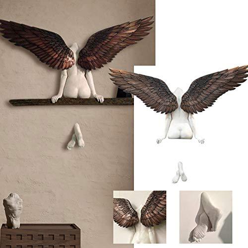 Engel Statuen, 3D EngelsflüGel Wandskulptur, Vintage Engel Art Skulptur Wanddekoration Statue, Engel Kunst Skulptur Figuren GroßE Engel Flügel Ornament Wanddeko für Wohnzimmer Home Dekoration