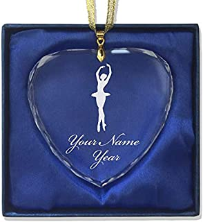 Christmas Ornament, Ballet Dancer Woman, Personalized Engraving Included (Heart Shape)
