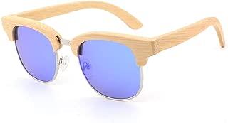 Fashion Coated Bamboo and Wood Glasses Fashionable Half-Frame Bamboo Sunglasses Polarized Color Film Sunglasses Retro (Color : E Blue, Size : Free)